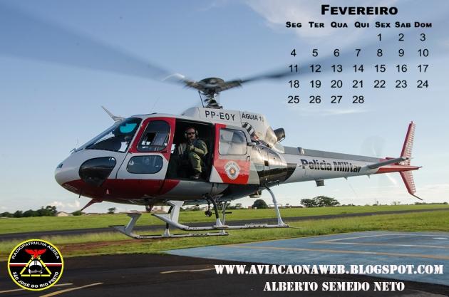Calendario 2013 - Folha de Fevereiro - Aguia PM